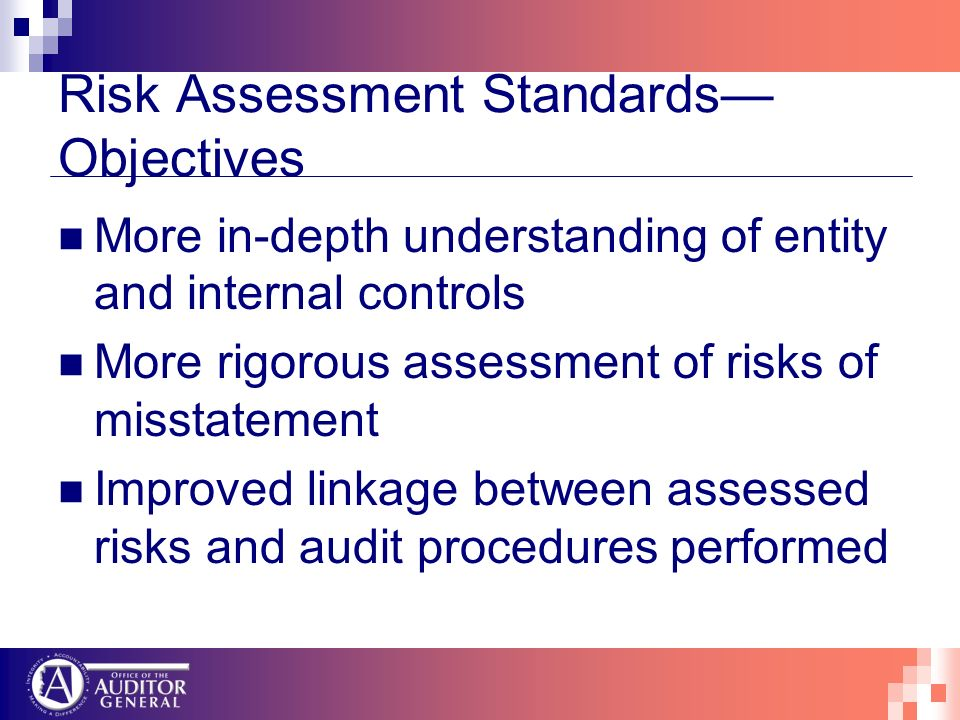 Risk Assessment Standards Objectives More in-depth understanding of entity and internal controls More rigorous assessment of risks of misstatement Imp