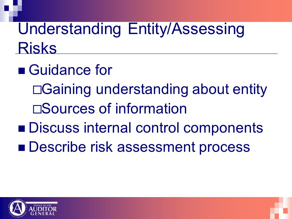 Understanding Entity/Assessing Risks Guidance for Gaining understanding about entity Sources of information Discuss internal control components Describe risk assessment process