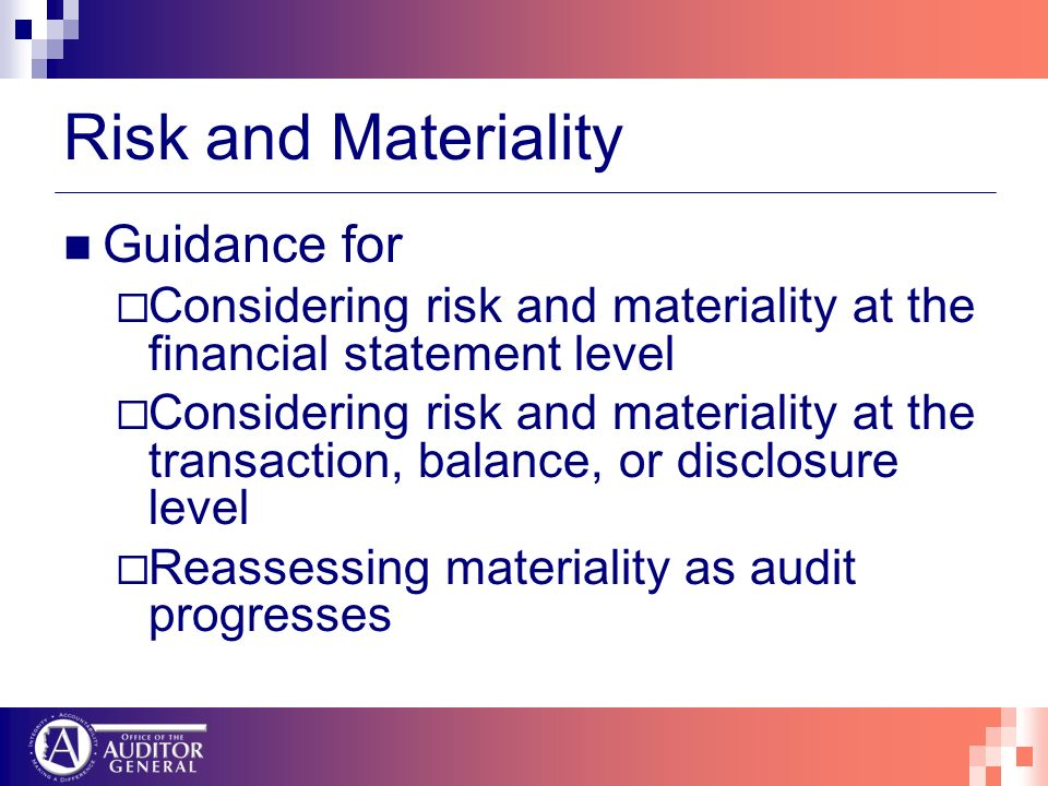 Risk and Materiality Guidance for Considering risk and materiality at the financial statement level Considering risk and materiality at the transactio