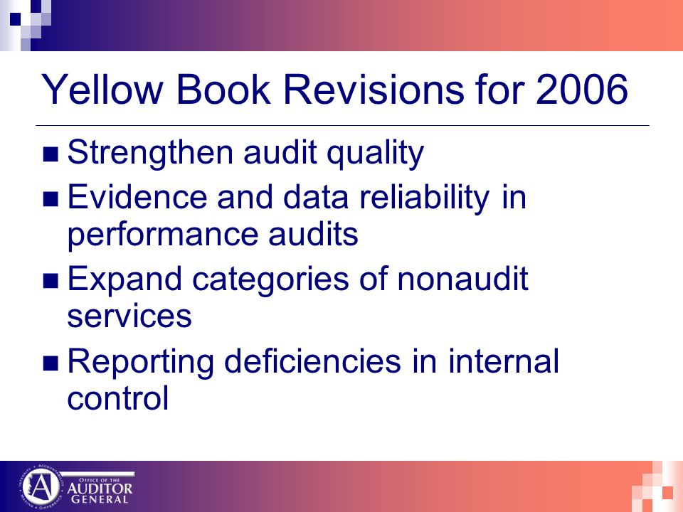 Yellow Book Revisions for 2006 Strengthen audit quality Evidence and data reliability in performance audits Expand categories of nonaudit services Rep