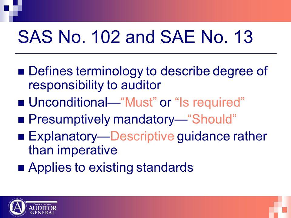 SAS No. 102 and SAE No.