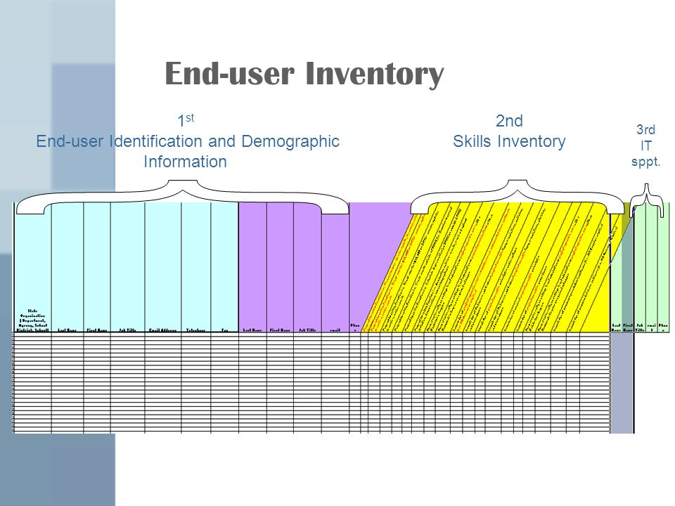 End-user Inventory 1 st End-user Identification and Demographic Information 2nd Skills Inventory 3rd IT sppt.