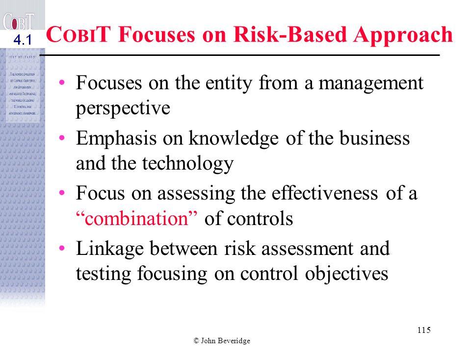 © John Beveridge 114 Risks to the Entity? è Unaware of the risks è Poor understanding of CSFs è Absence of KPIs è No scorecard or basis of measurement