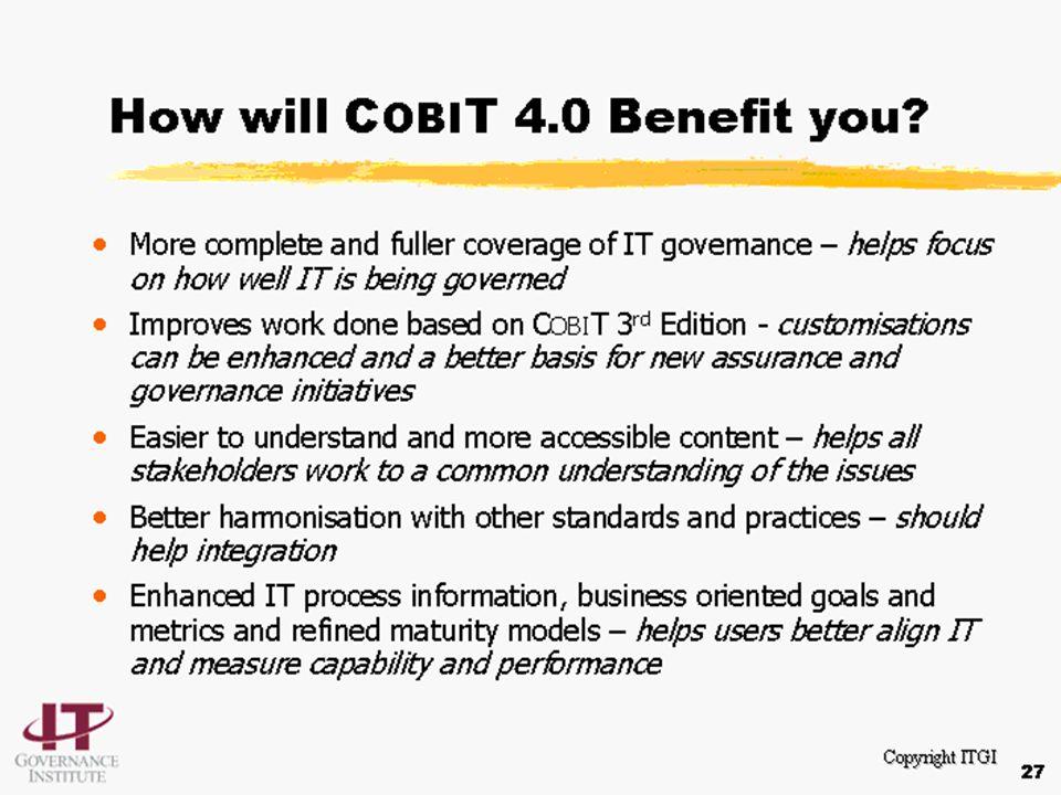 © John Beveridge 117 Recap: CobiT Recognizes IT is an integral part of the organization IT governance is an integral part of corporate governance Focu