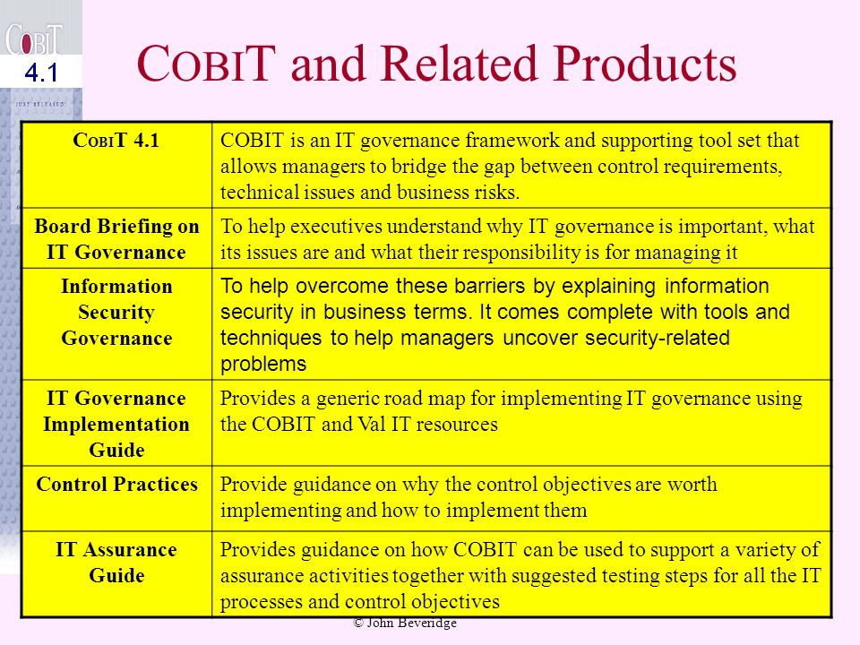© John Beveridge 51 What are the key COBIT Documents? Control Objectives define what needs to be done to implement an effective control structure to i