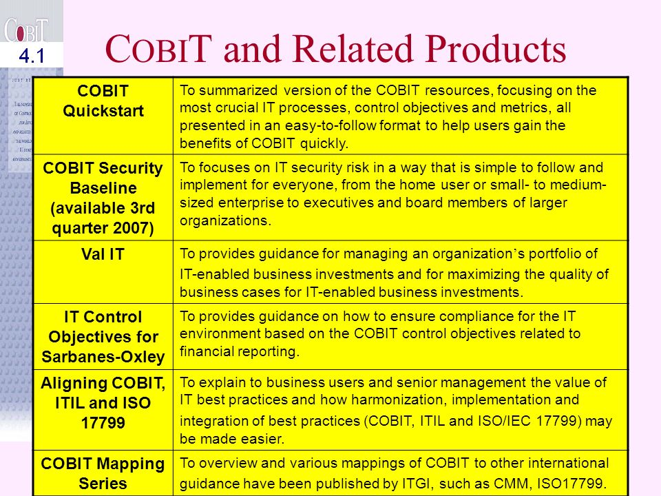 © John Beveridge 52 C OBI T and Related Products C OBI T 4.1COBIT is an IT governance framework and supporting tool set that allows managers to bridge