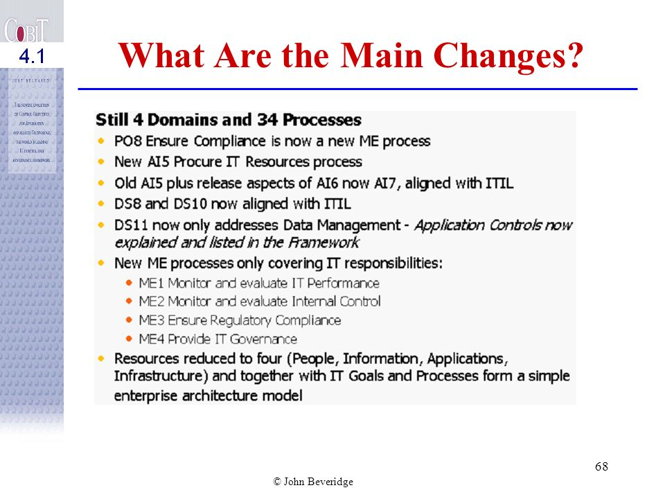 © John Beveridge 67 C OBI T Process Model Subdivides IT into four domains 34 processes in line with the domains Responsibility areas of plan, build, r