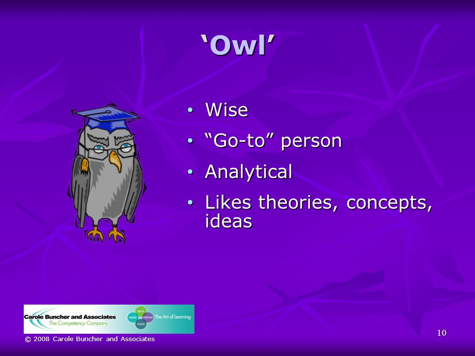 © 2008 Carole Buncher and Associates OwlOwl Wise Wise Go-to person Go-to person Analytical Analytical Likes theories, concepts, ideas Likes theories, concepts, ideas 10