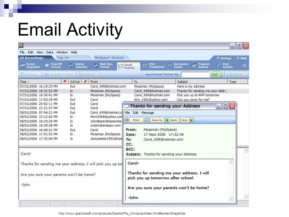 Email Activity http://www.spectorsoft.com/products/SpectorPro_Windows/index.html#screenSnapshots