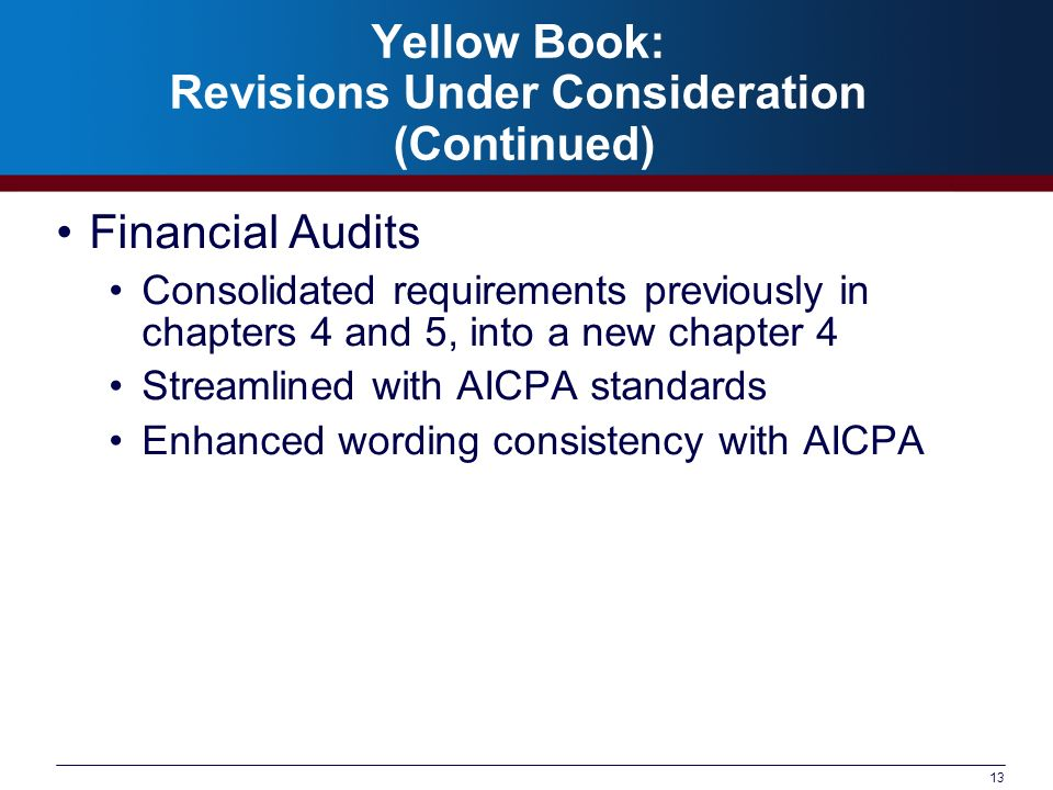 13 Yellow Book: Revisions Under Consideration (Continued) Financial Audits Consolidated requirements previously in chapters 4 and 5, into a new chapte
