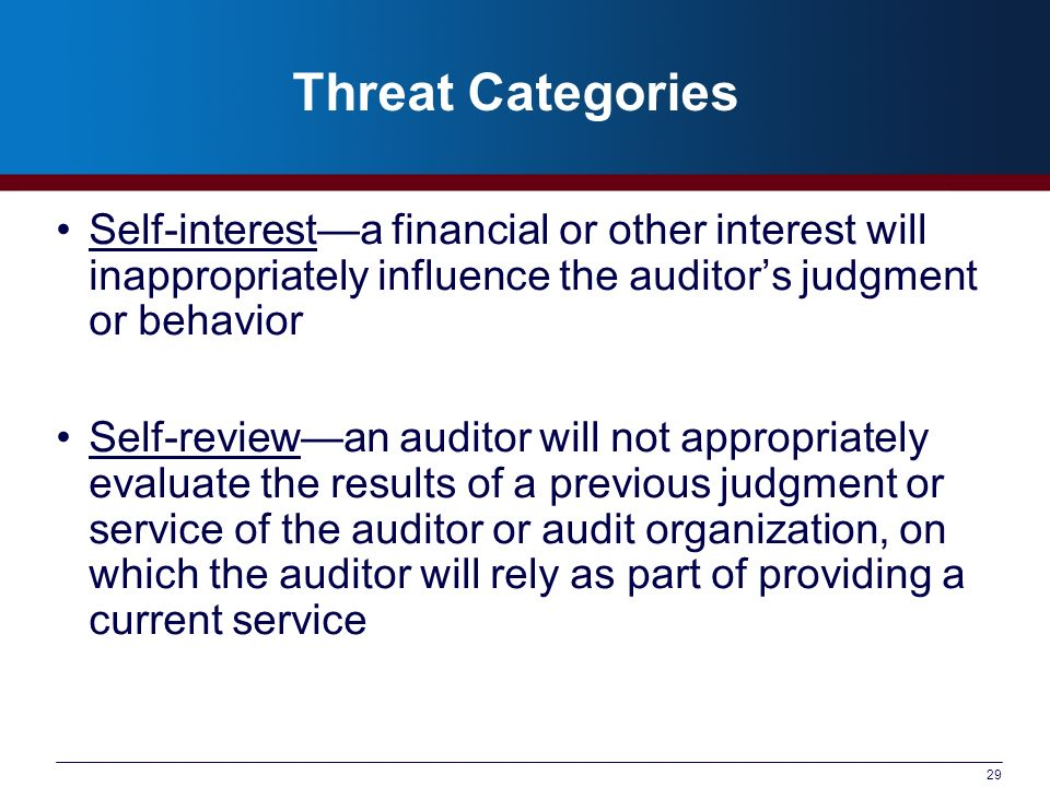 29 Threat Categories Self-interesta financial or other interest will inappropriately influence the auditors judgment or behavior Self-reviewan auditor