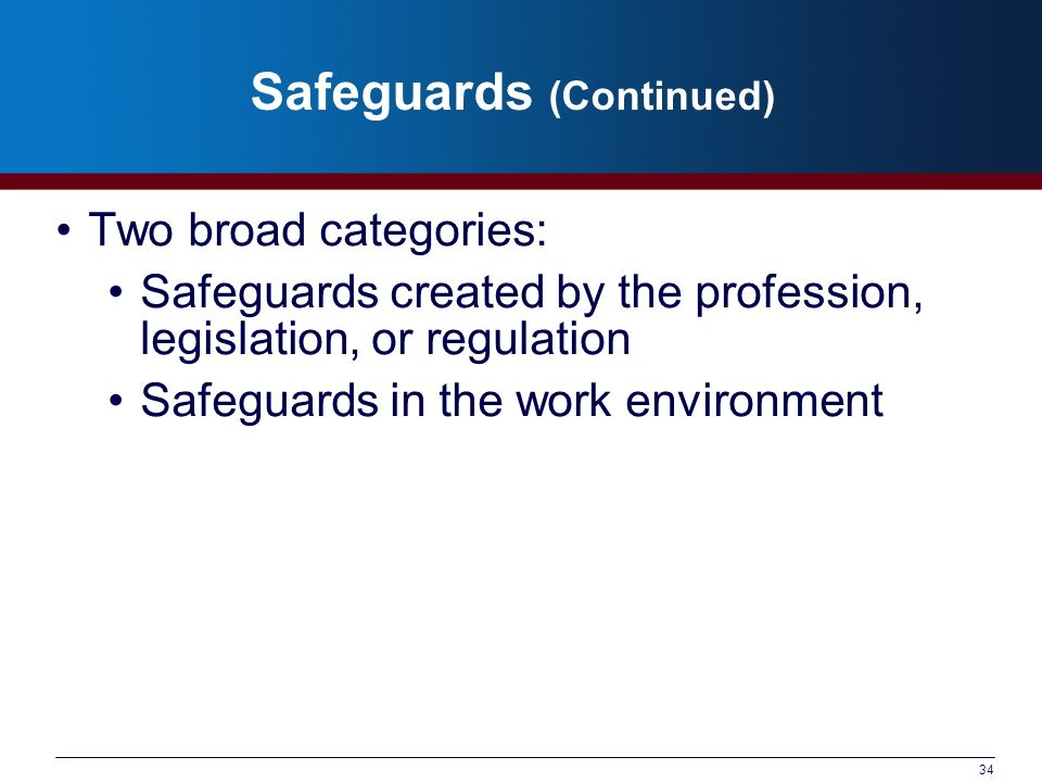 34 Safeguards (Continued) Two broad categories: Safeguards created by the profession, legislation, or regulation Safeguards in the work environment