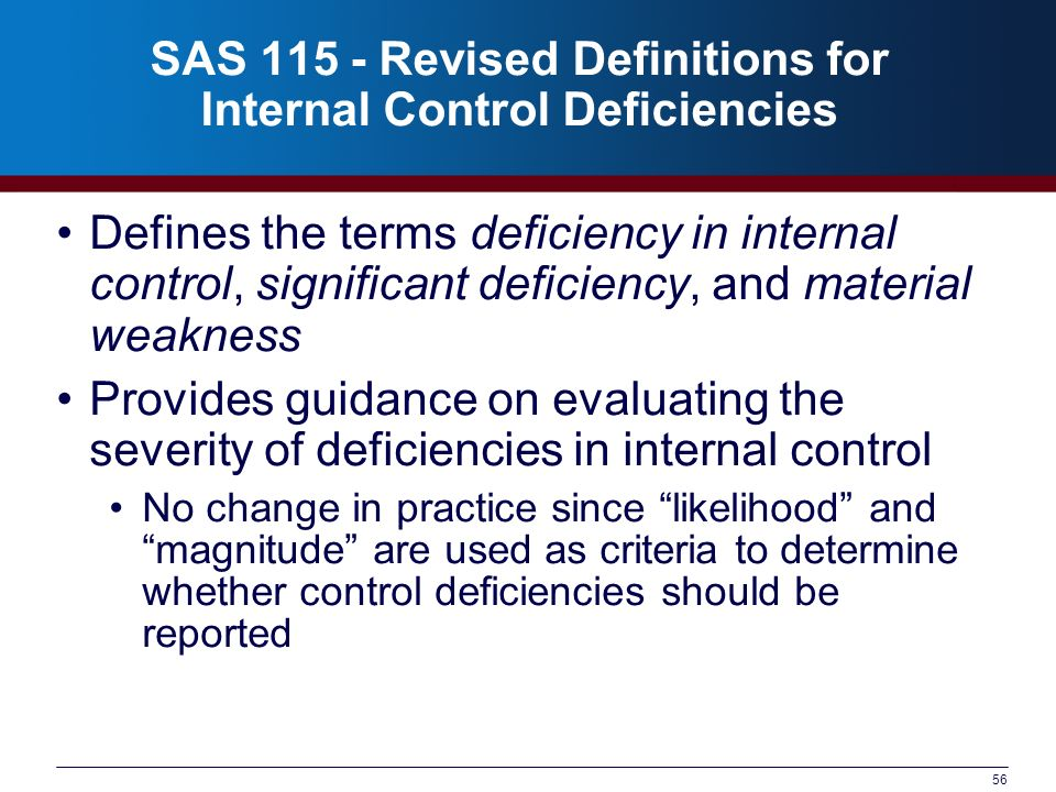 56 SAS 115 - Revised Definitions for Internal Control Deficiencies Defines the terms deficiency in internal control, significant deficiency, and mater