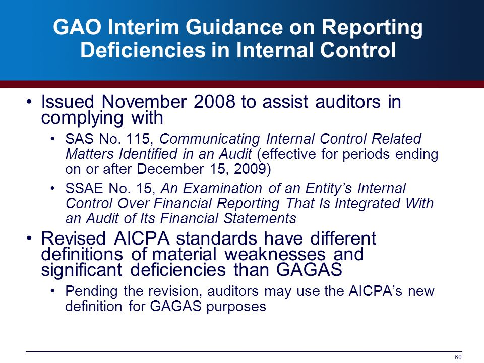 60 GAO Interim Guidance on Reporting Deficiencies in Internal Control Issued November 2008 to assist auditors in complying with SAS No. 115, Communica