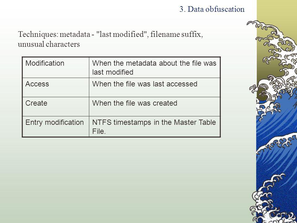 3. Data obfuscation Techniques: metadata -