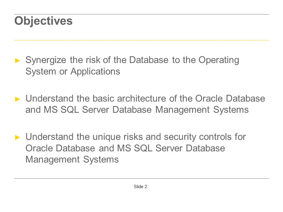 Slide 2 Objectives Synergize the risk of the Database to the Operating System or Applications Understand the basic architecture of the Oracle Database