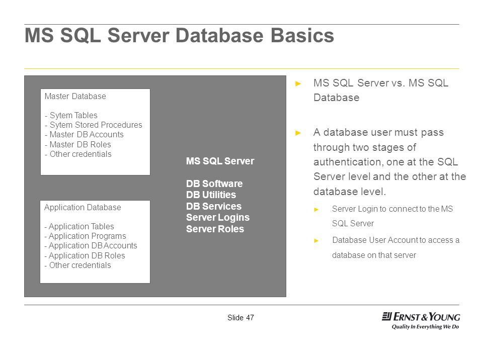 Slide 47 MS SQL Server Database Basics MS SQL Server vs. MS SQL Database A database user must pass through two stages of authentication, one at the SQ