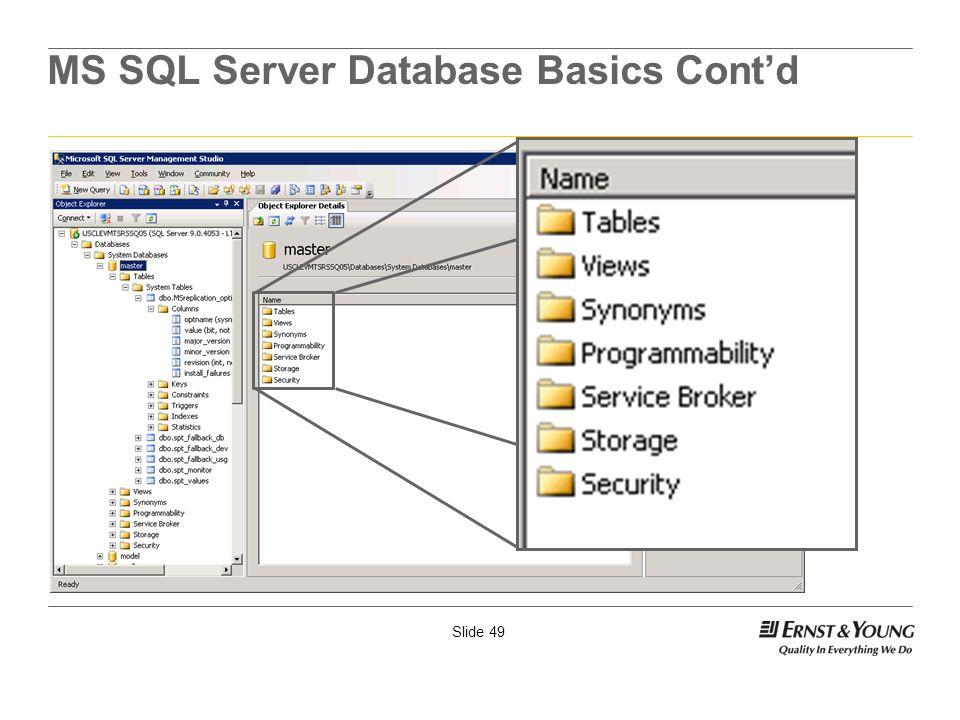 Slide 49 MS SQL Server Database Basics Contd
