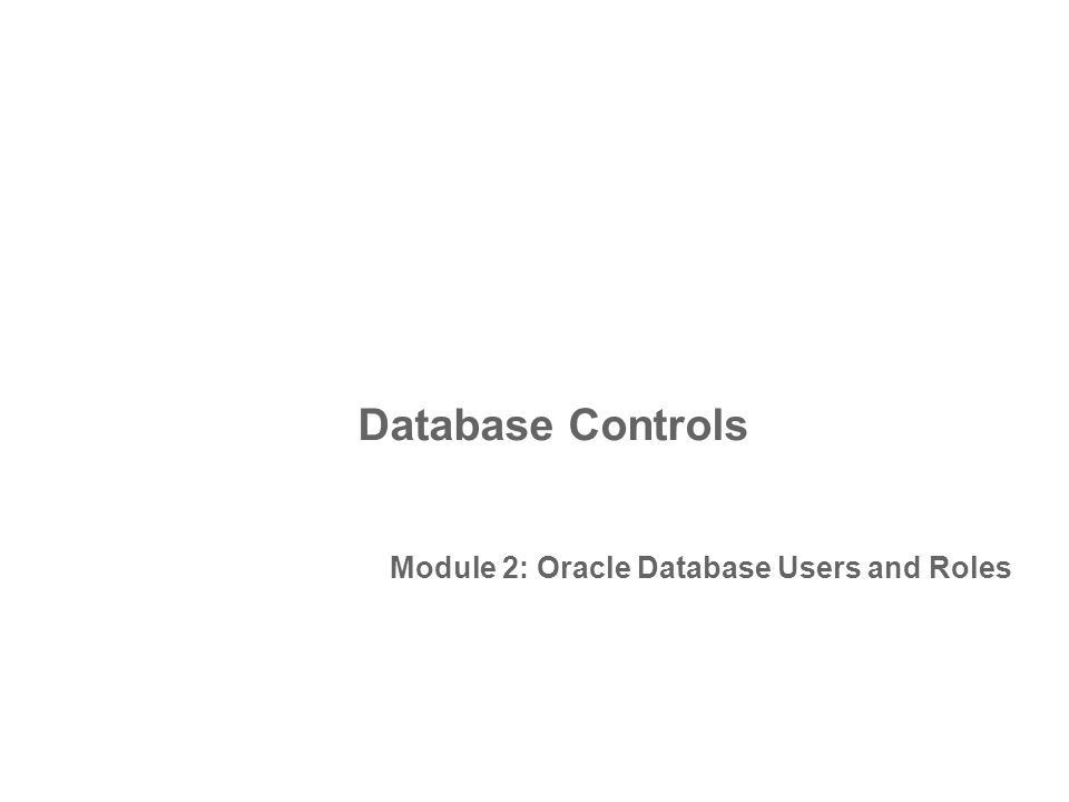 Database Controls Module 2: Oracle Database Users and Roles