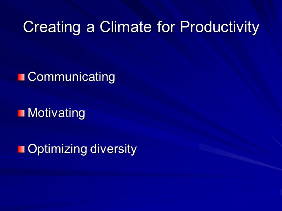 Creating a Climate for Productivity CommunicatingMotivating Optimizing diversity