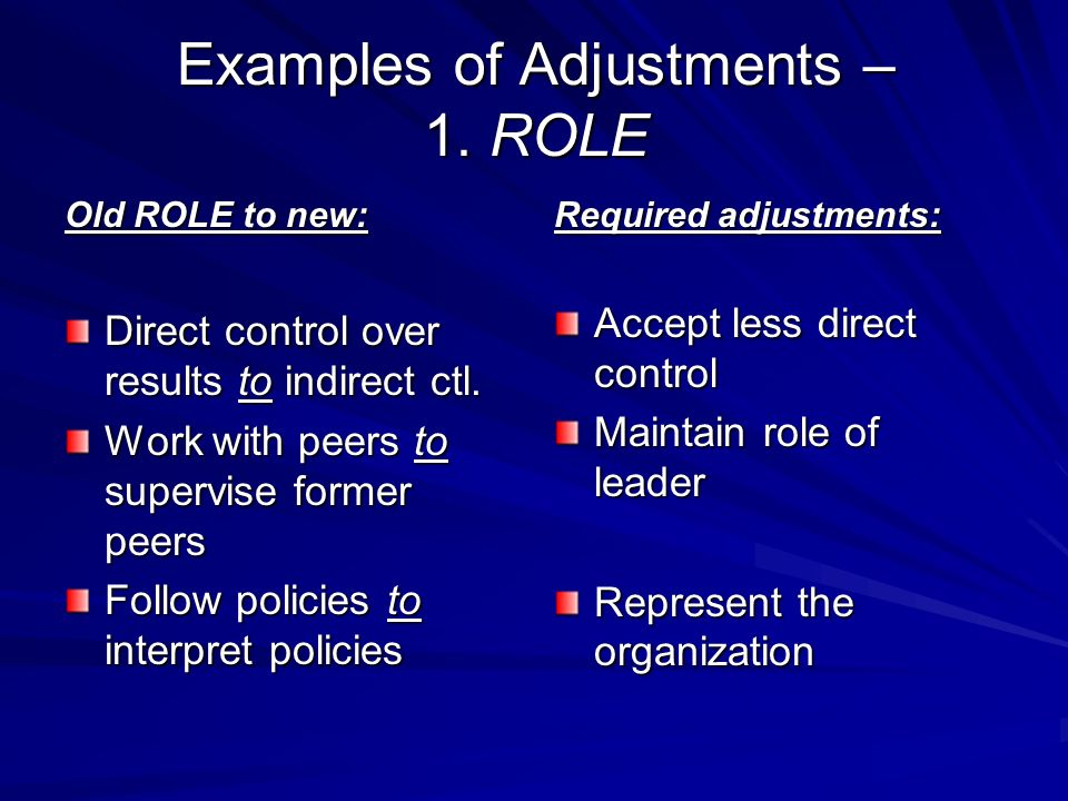 Examples of Adjustments – 1. ROLE Old ROLE to new: Direct control over results to indirect ctl.