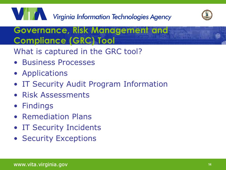 14 Governance, Risk Management and Compliance (GRC) Tool What is captured in the GRC tool? Business Processes Applications IT Security Audit Program I