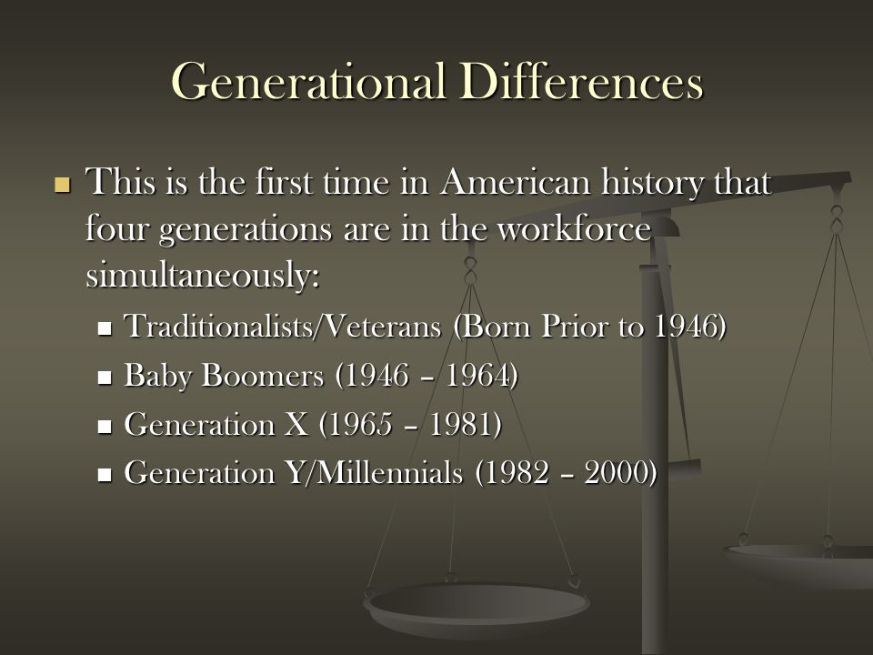 Generational Differences This is the first time in American history that four generations are in the workforce simultaneously: This is the first time