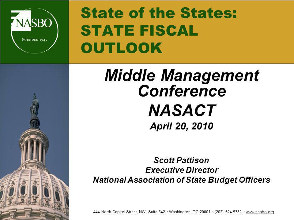 Middle Management Conference NASACT April 20, 2010 Scott Pattison Executive Director National Association of State Budget Officers 444 North Capitol S