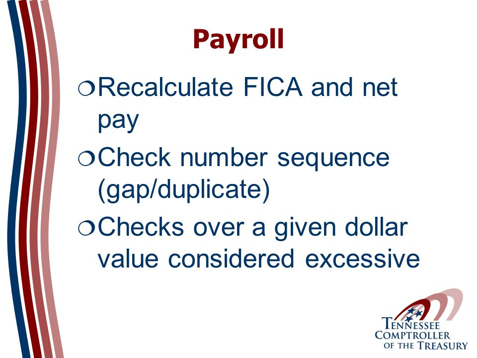 Payroll Recalculate FICA and net pay Check number sequence (gap/duplicate) Checks over a given dollar value considered excessive