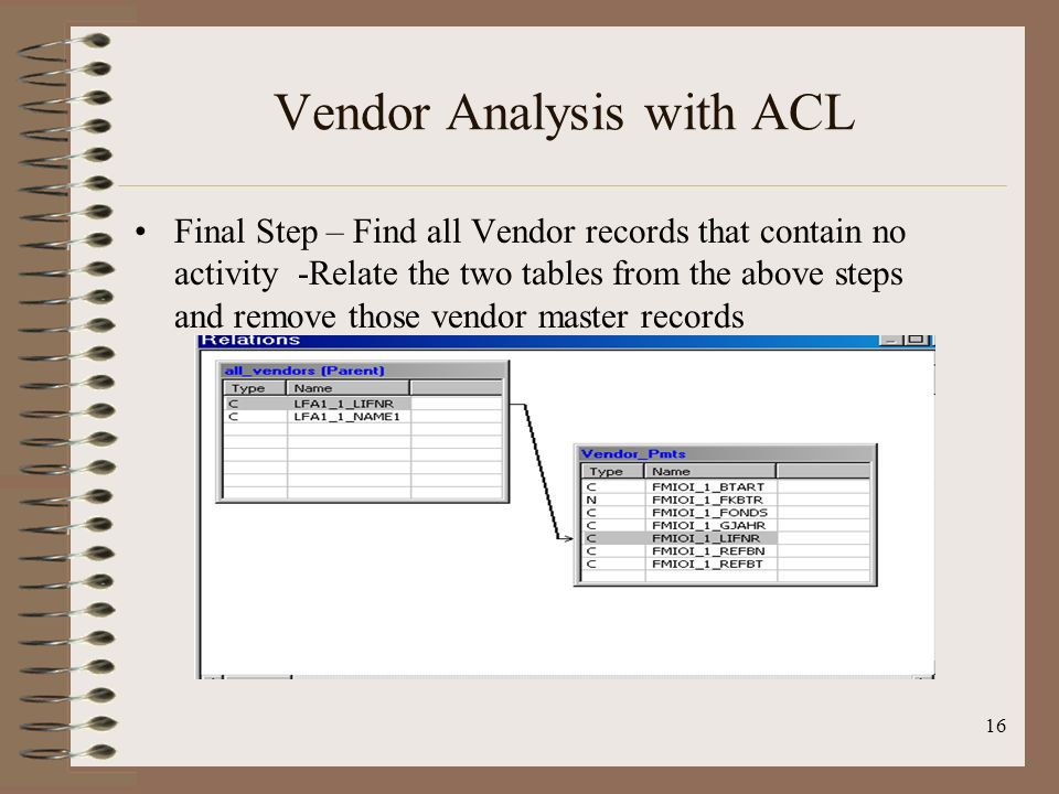 16 Vendor Analysis with ACL Final Step – Find all Vendor records that contain no activity -Relate the two tables from the above steps and remove those
