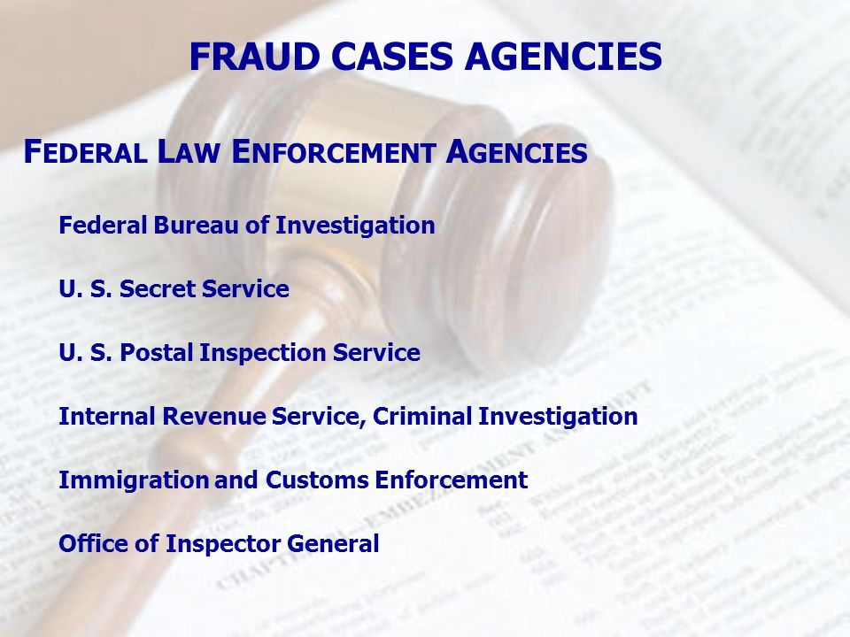 F EDERAL L AW E NFORCEMENT A GENCIES FRAUD CASES AGENCIES Federal Bureau of Investigation U. S. Secret Service U. S. Postal Inspection Service Interna