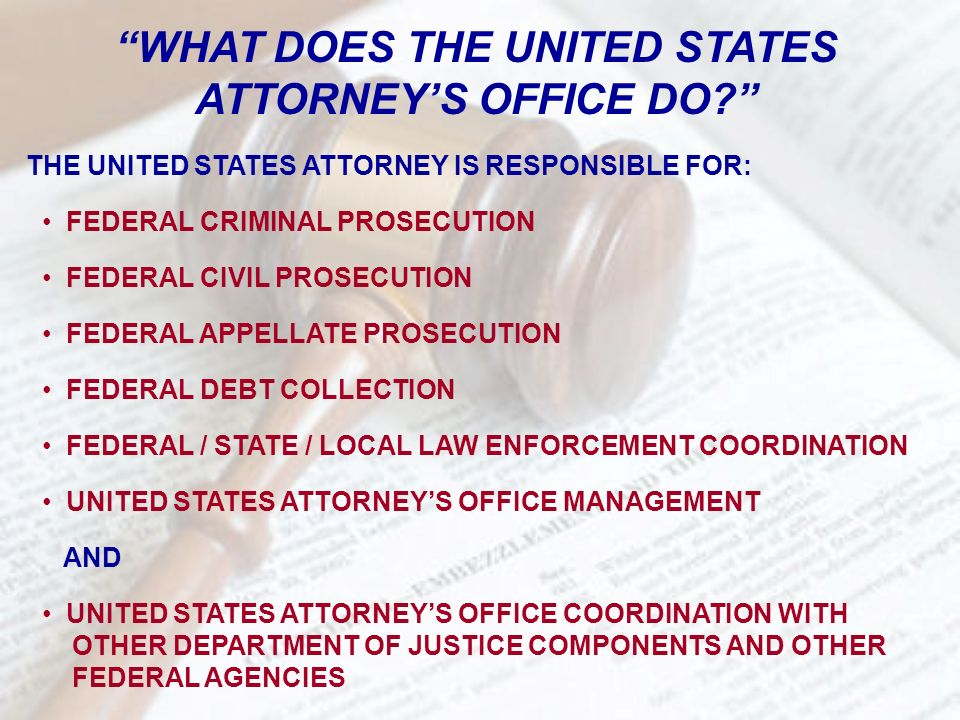 WHAT DOES THE UNITED STATES ATTORNEYS OFFICE DO? THE UNITED STATES ATTORNEY IS RESPONSIBLE FOR: FEDERAL CRIMINAL PROSECUTION FEDERAL CIVIL PROSECUTION