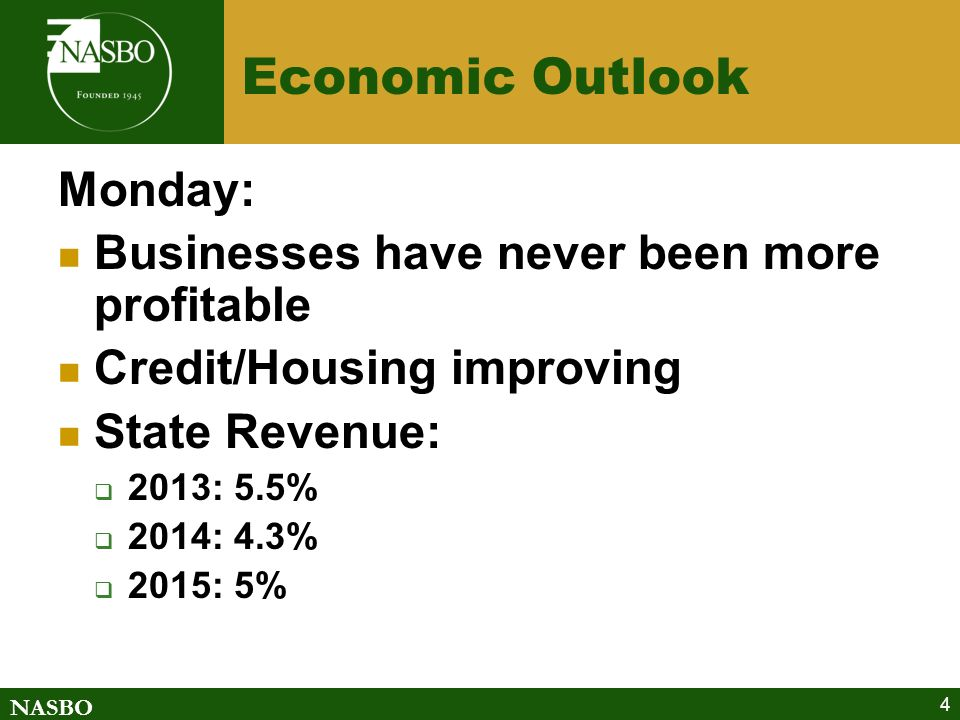 NASBO 4 Economic Outlook Monday: Businesses have never been more profitable Credit/Housing improving State Revenue: 2013: 5.5% 2014: 4.3% 2015: 5%