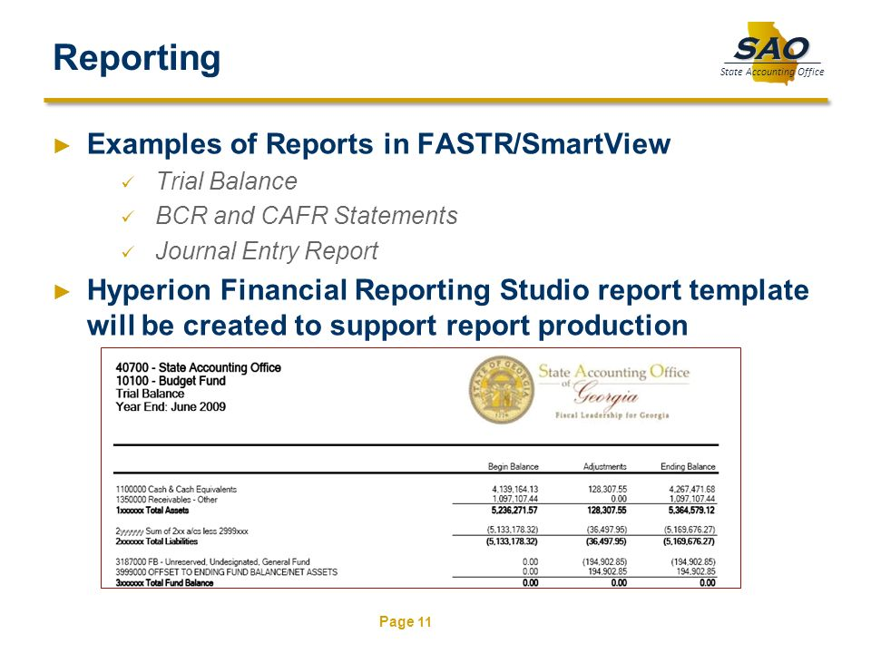 Page 11 SAO State Accounting Office Reporting Examples of Reports in FASTR/SmartView Trial Balance BCR and CAFR Statements Journal Entry Report Hyperi