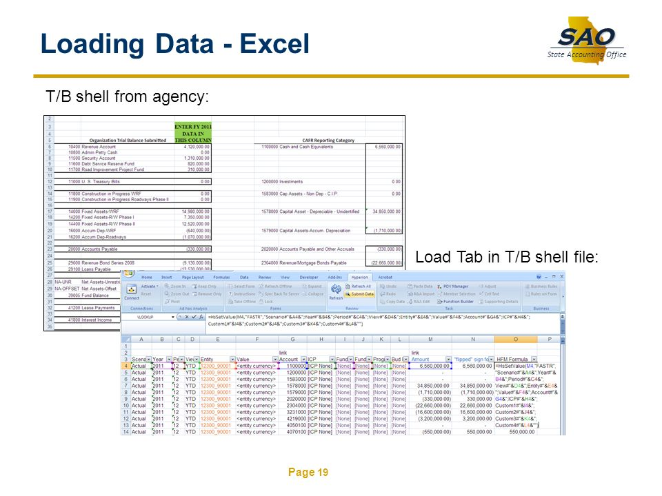 Page 19 SAO State Accounting Office Loading Data - Excel T/B shell from agency: Load Tab in T/B shell file: