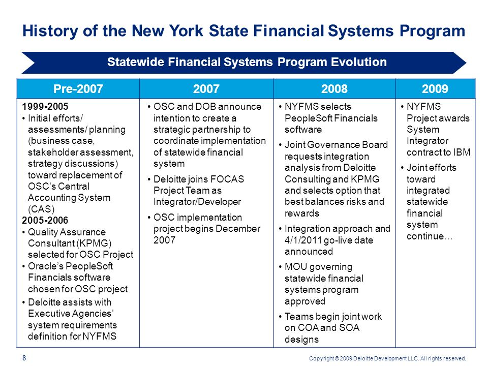 Copyright © 2009 Deloitte Development LLC. All rights reserved. 7 Statewide Financial Systems Governance Executives from the State Comptroller, Divisi