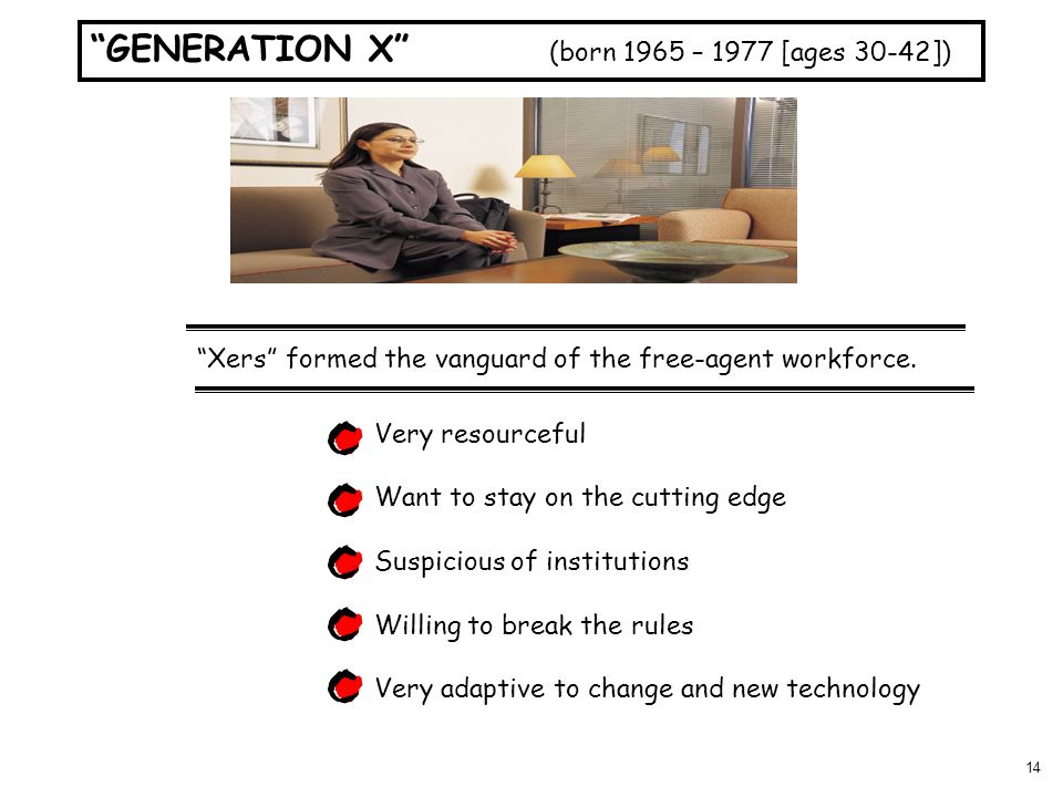 14 GENERATION X (born 1965 – 1977 [ages 30-42]) Xers formed the vanguard of the free-agent workforce. Very resourceful Want to stay on the cutting edg