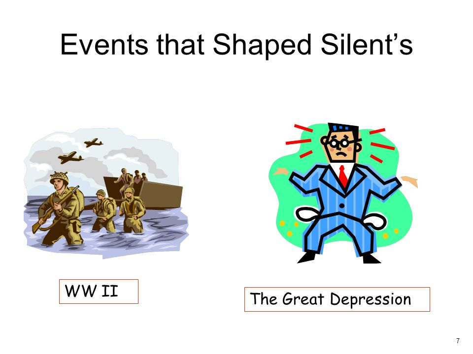 Events that Shaped Silents WW II The Great Depression 7