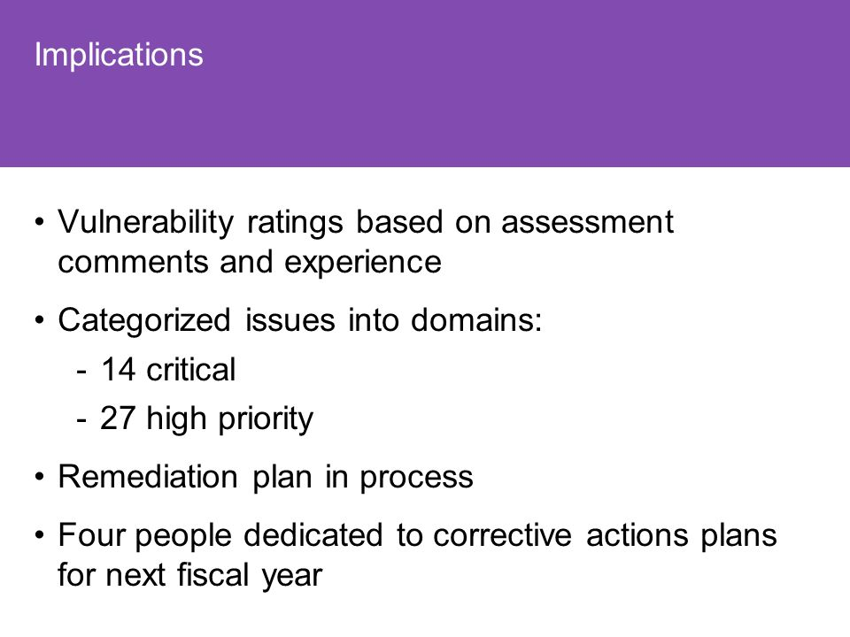 Implications Vulnerability ratings based on assessment comments and experience Categorized issues into domains: -14 critical -27 high priority Remediation plan in process Four people dedicated to corrective actions plans for next fiscal year