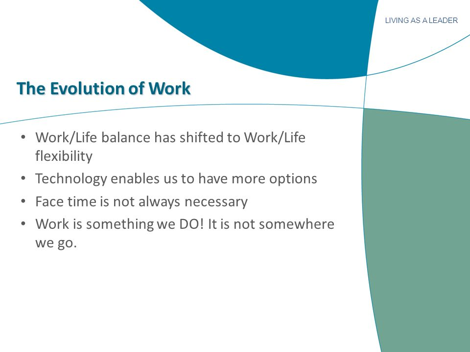 LIVING AS A LEADER The Evolution of Work Work/Life balance has shifted to Work/Life flexibility Technology enables us to have more options Face time is not always necessary Work is something we DO.