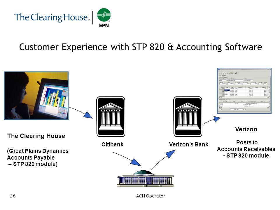 26 Verizon Posts to Accounts Receivables - STP 820 module The Clearing House ( Great Plains Dynamics Accounts Payable – STP 820 module) CitibankVerizo