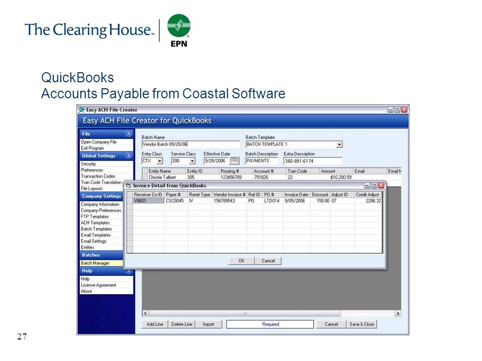 27 QuickBooks Accounts Payable from Coastal Software