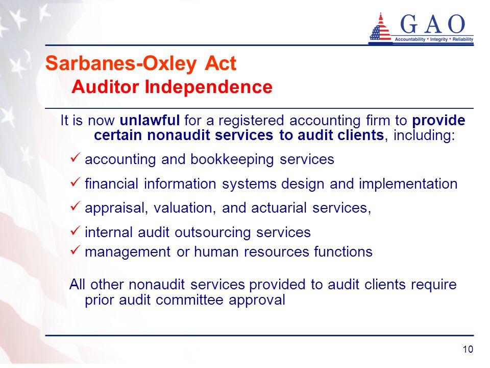 10 Sarbanes-Oxley Act Auditor Independence It is now unlawful for a registered accounting firm to provide certain nonaudit services to audit clients,