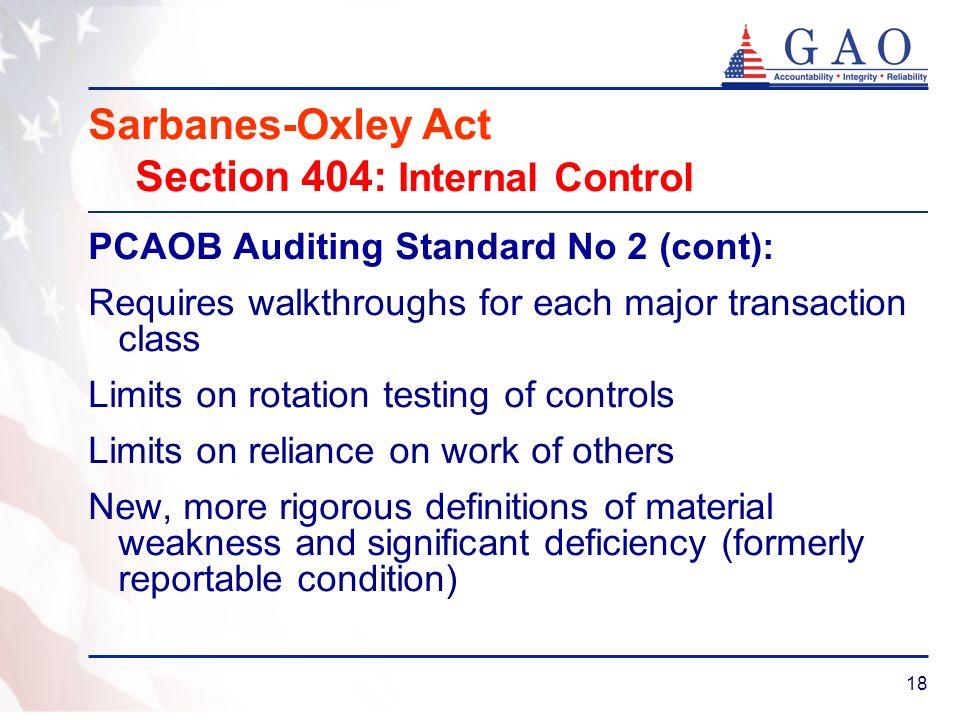 sarbanes oxley act relates to internal control