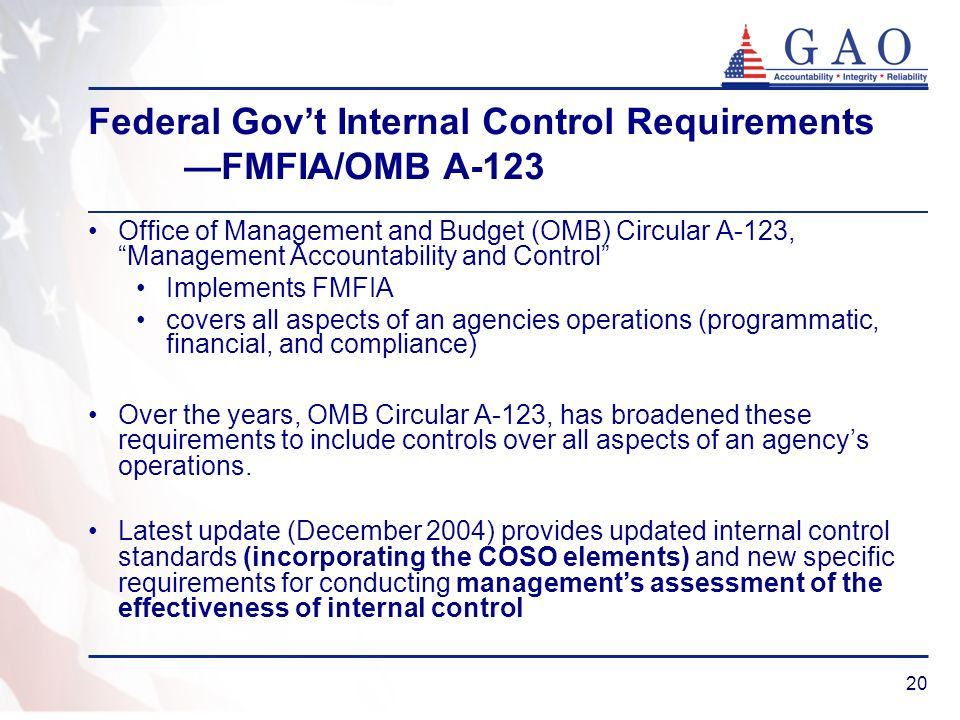 20 Federal Govt Internal Control Requirements FMFIA/OMB A-123 Office of Management and Budget (OMB) Circular A-123, Management Accountability and Cont