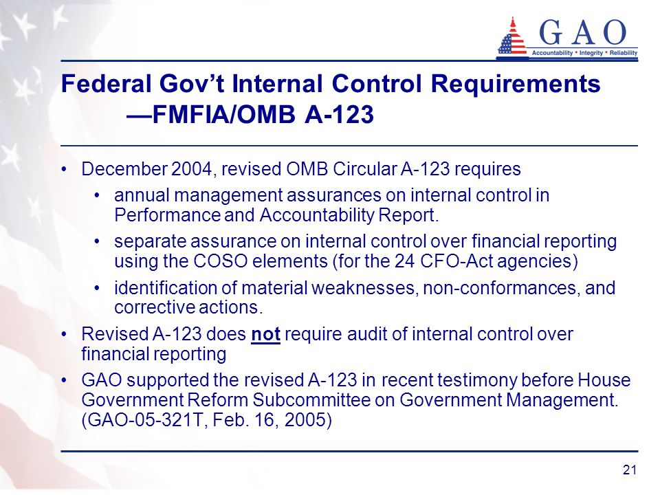 21 Federal Govt Internal Control Requirements FMFIA/OMB A-123 December 2004, revised OMB Circular A-123 requires annual management assurances on inter