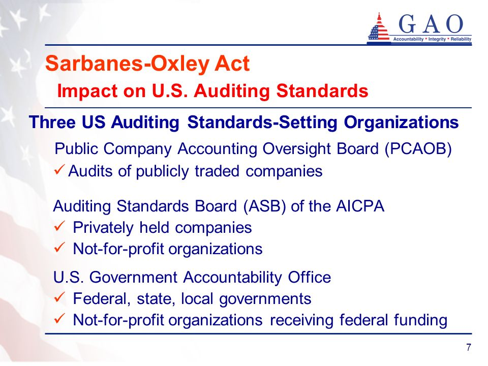 8 Sarbanes-Oxley Act: Impact on U.S.Auditing Standards Comptroller General established the U.S.