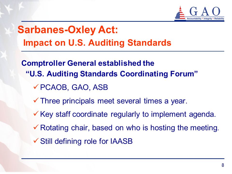 8 Sarbanes-Oxley Act: Impact on U.S. Auditing Standards Comptroller General established the U.S. Auditing Standards Coordinating Forum PCAOB, GAO, ASB