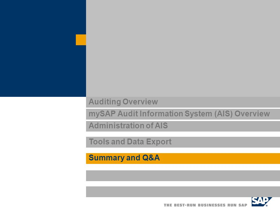 Auditing Overview mySAP Audit Information System (AIS) Overview Administration of AIS Tools and Data Export Summary and Q&A