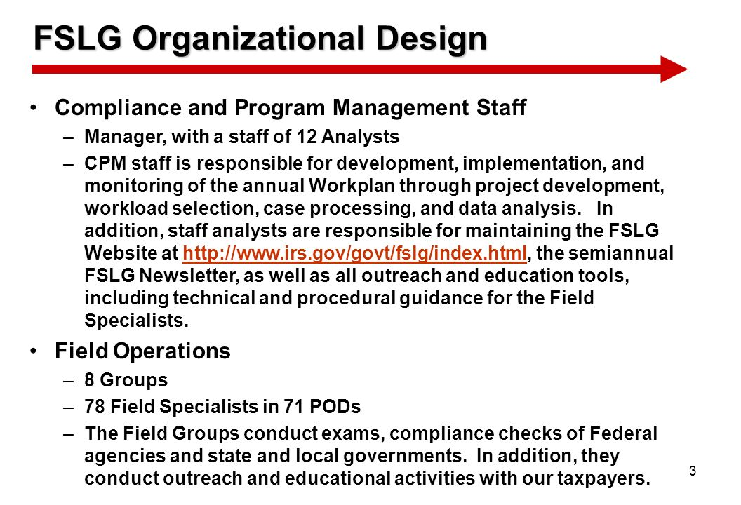 3 FSLG Organizational Design Compliance and Program Management Staff –Manager, with a staff of 12 Analysts –CPM staff is responsible for development,